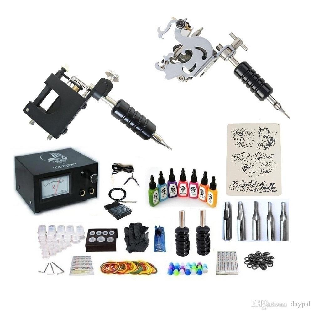 Proffessional Tattoo Kit 2 Machines Power Supply 7 Inks 25 Needles 2 ...