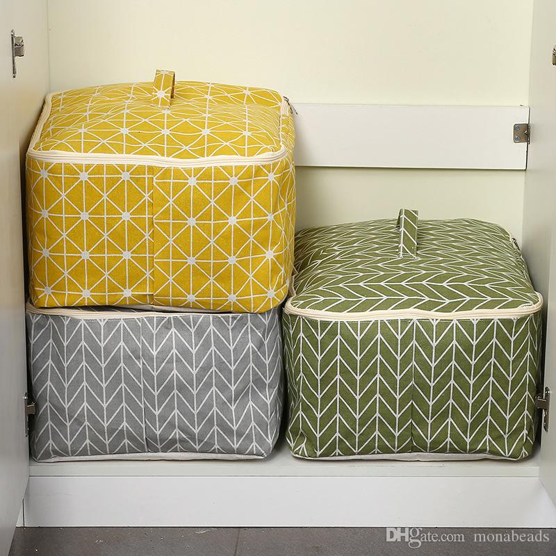 Quilt Storage Bag Cotton Linen Portable Foldable Dustproof Waterproof Home Clothing Storage Bags Closet Storage Bags
