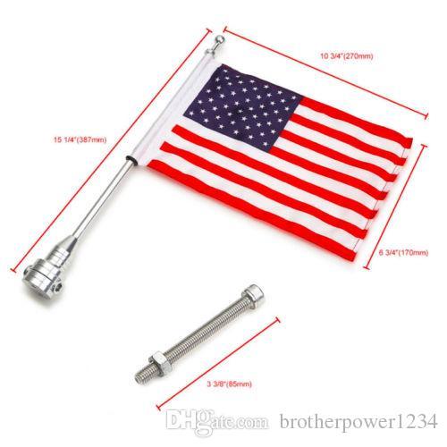 Poste de bandera de montaje lateral posterior de motocicleta personalizada con bandera de los EE. UU. Para Harley