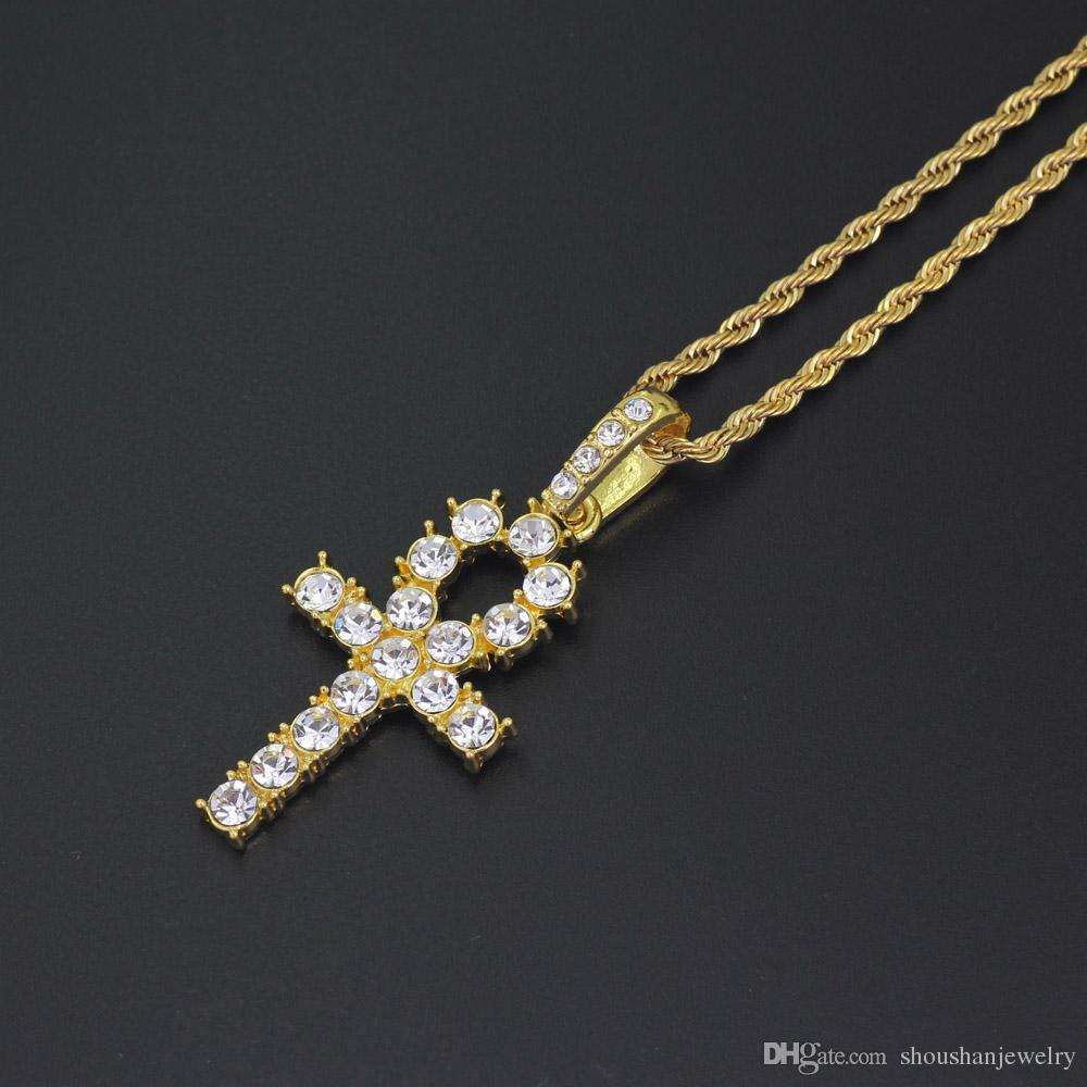 Hip hop Cross Pendant Necklace Jewelry with 3mm 24inch Rope Chain N675B