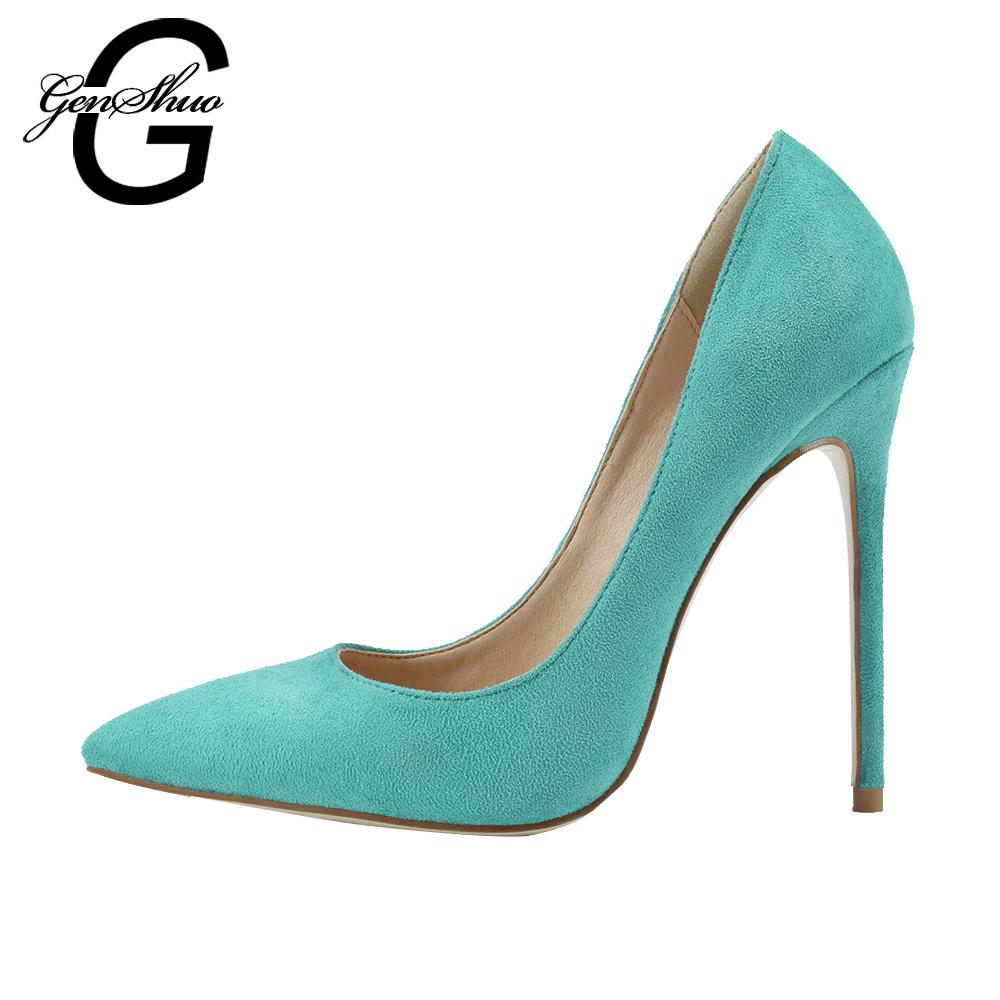 451206ceed3 wholesale High Heels Shoes Women Pumps Turquoise High Heels Ladies Pointed  Toe Stiletto Faux Suede Party Shoes For Women Size35-42