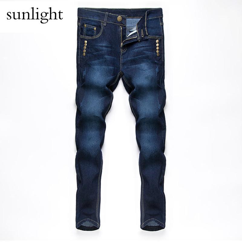 d5898bf21b Compre Jeans Hombres 2017 Nueva Moda Estilo Coreano High Street Slim Fit  Botón Personalidad Vintage Clásicos Pantalones De Mezclilla Tamaño 28 36  Pantalón A ...