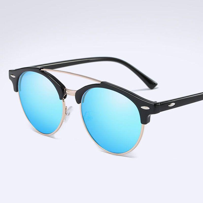 9202289e03 2018 Fashion Polarized Sunglasses Women Brand Designer Classic Vintage  Rivet Round Driving Sun Glasses Metal Semi Rimless Gafas Lunettes Super  Sunglasses ...