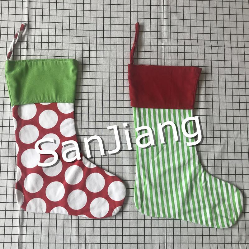 40*30cm Canvas Christmas Stocking Gift Bag Lucky Clover Print Striped Christmas Socks Pattern printing Xmas Stocking bag New Year Decora