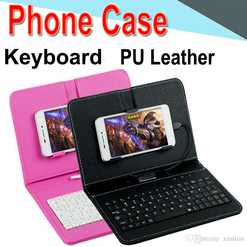 outlet store 968bd f6b23 Wire Keyboard Case Cover for iPhone Android Phone Ultra Thin Wireless ABS  Keyboard PU Case Universal Mobile Phone XPT-1