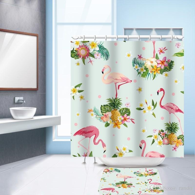 2018 Waterproof Polyester Shower Curtain Bath Mat Set Flamingo ...