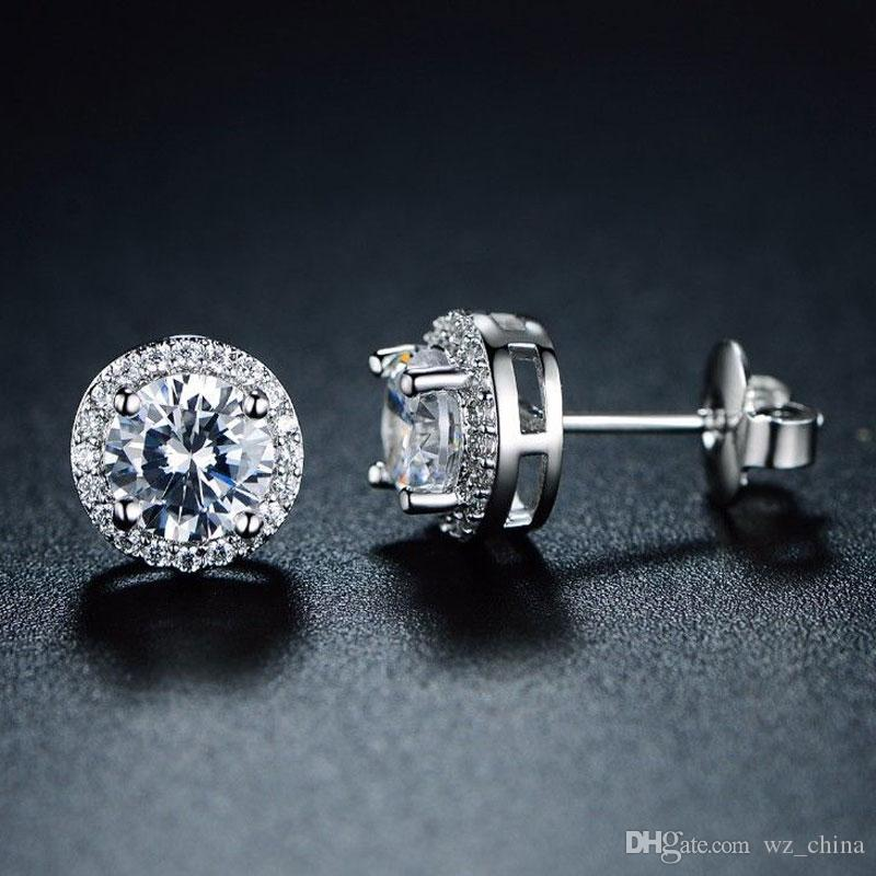 Kristall Hochzeit Stud Ohrringe für Frauen Böhmischen Schöne Runde Diamant Ohrring Full CZ Zirkon Damen Mädchen Engagement Schmuck