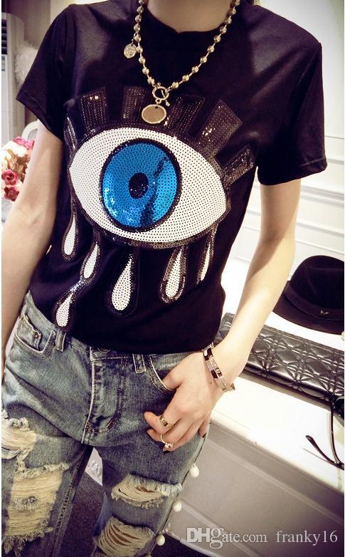 2018 Sommer neue Mode Frauen große Augen Pailletten Lycra Baumwolle T-Shirt europäischen Flut Marke Kurzarm Bluse Shirt Größe S-4XL
