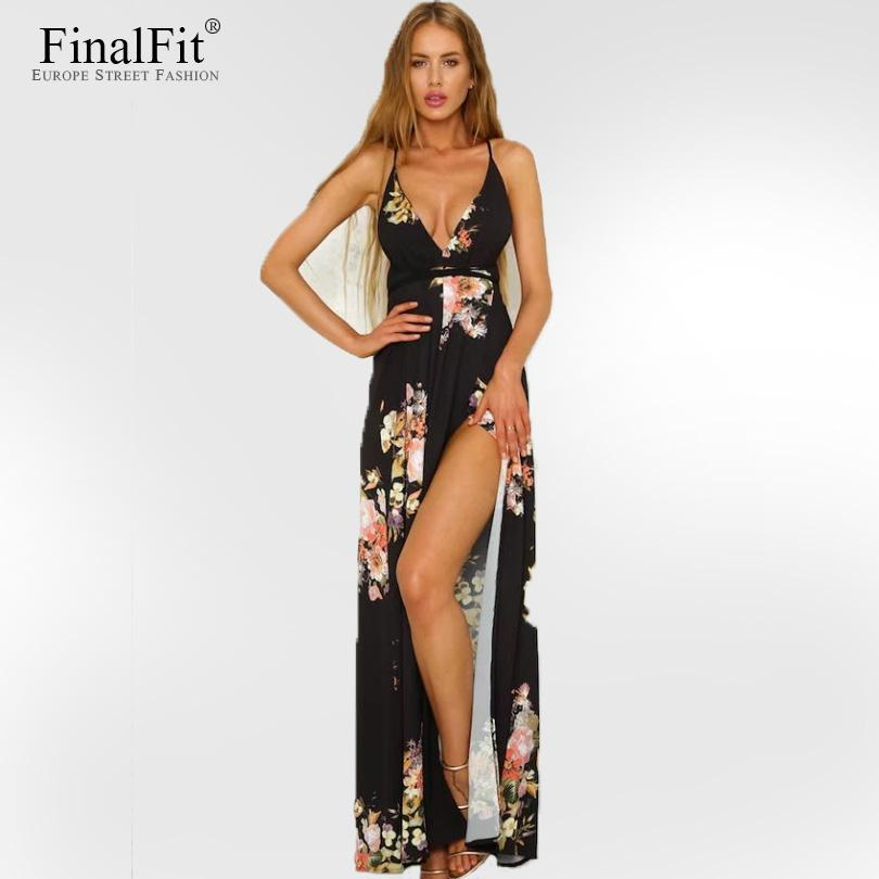 40d2b9601f 2019 Strap Maxi Dress Floral Print Floor Length Cross Back Thigh Split  Backless V Neck Summer Cusual Long Beach Women Dress From Cover3127, $48.51  | DHgate.
