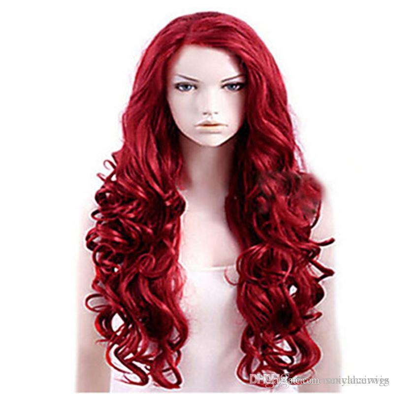 New Style Women Wigs Heat Resistant Burgundy Red Long Body Wave Wigs with baby hair Glueless Synthetic Lace Front Wigs for Black Women