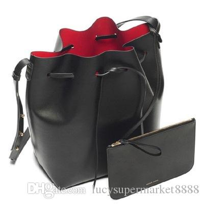 b58d8bd3195e Luxury Brand Designer Bucket bag Women Leather Wide Color Strap Shoulder  bag Handbag Large Capacity Crossbody bag girls Drawstring