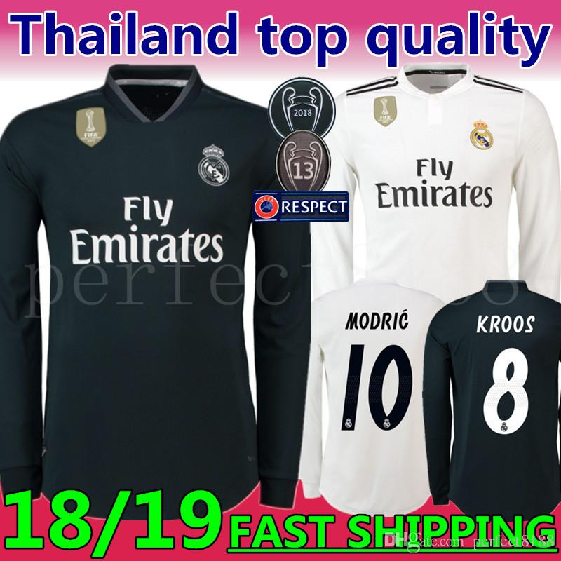0f26f416798 2019 2019 New Season  10 MODRIC Real Madrid Away Long Sleeve Soccer Jersey  18 19 Champions League Marcelo  20 ASENSIO ISCO Blue Football Uniform From  ...