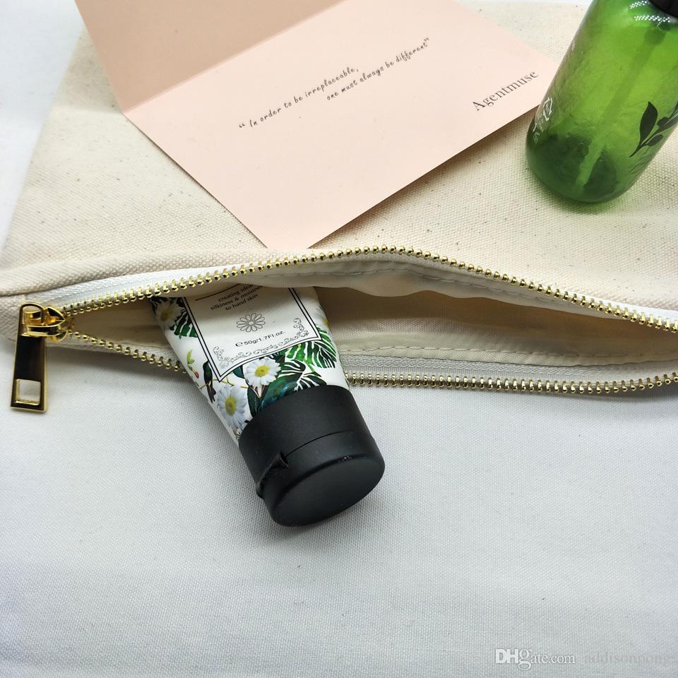 lotto delle donne in cotone naturale avorio / pochette con zip tinta tela sacchetto della matita trousse fodera argento 7 stampa personalizzato * 10in