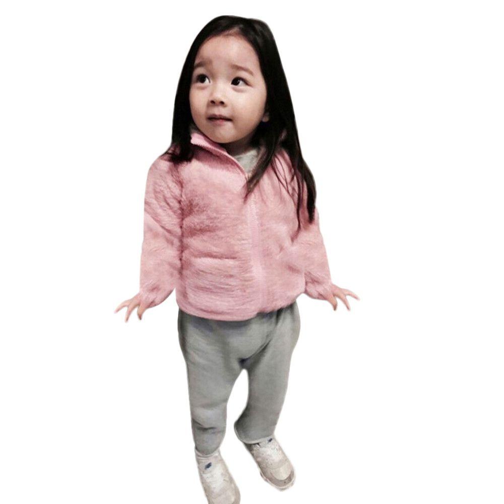 a6f489446 Toddler Kids Baby Girl Boy Winter Solid Fluffy Coat Cloak Jacket ...