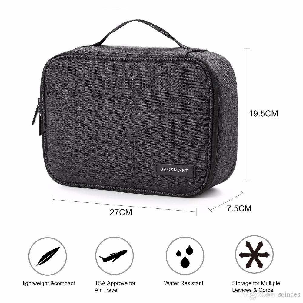 Double Layer Electronic Accessories Organizer Travel Gear Bag for Cables USB Flash Drive Plug black,blue,grey