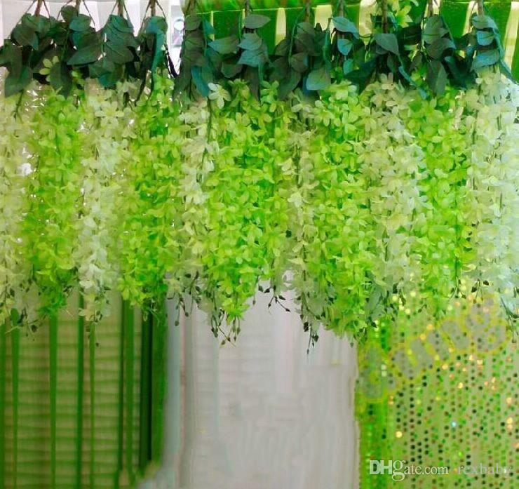 Romantic Wedding Decoration Garland Artificial Hanging Orchids Plants Fake Silk Flower Vine For Wedding Backdrop Party Decoration