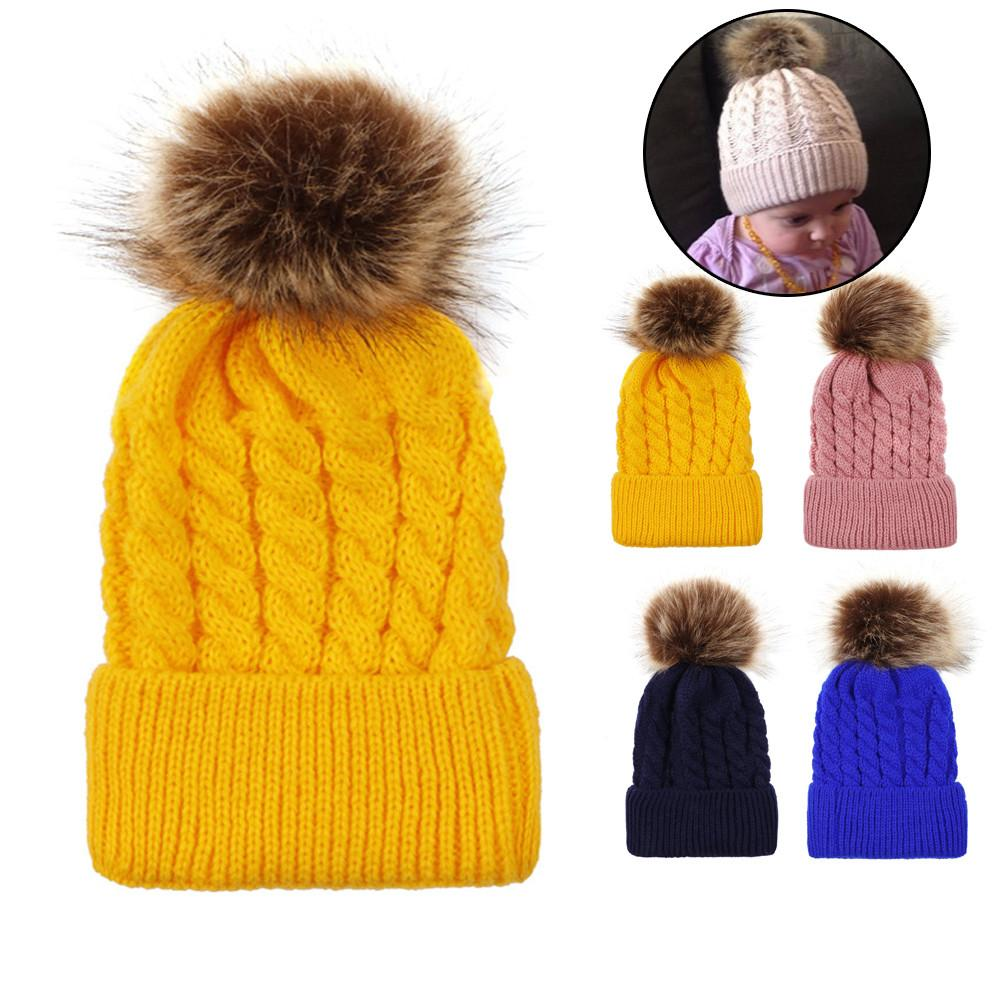 f0425fc7cca 2019 Cute Newborn Toddler Kids Baby Boy Girl Cotton Hat Winter Warm Cap  Winter Hats For Girls Knitted Hats Natural Fur Pompon Cap Wom From Cbaoyu