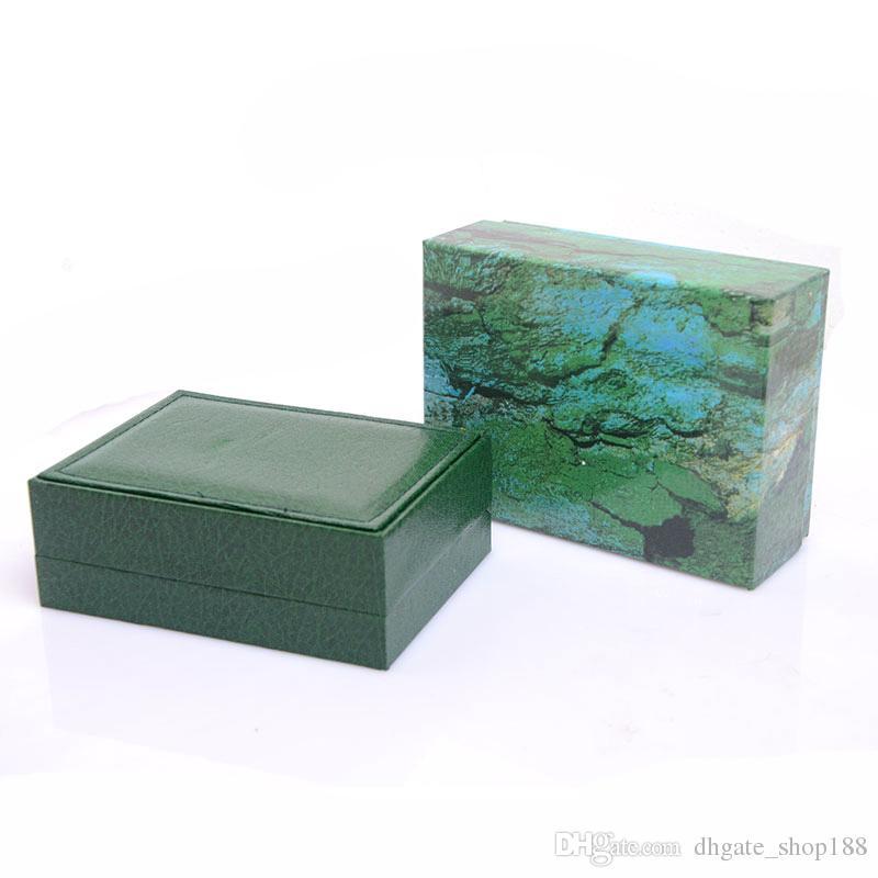 Drop shipping Scatole orologi da uomo Scatole orologi Scatola da interno in legno verde Scatole orologi da uomo Spedizione gratuita