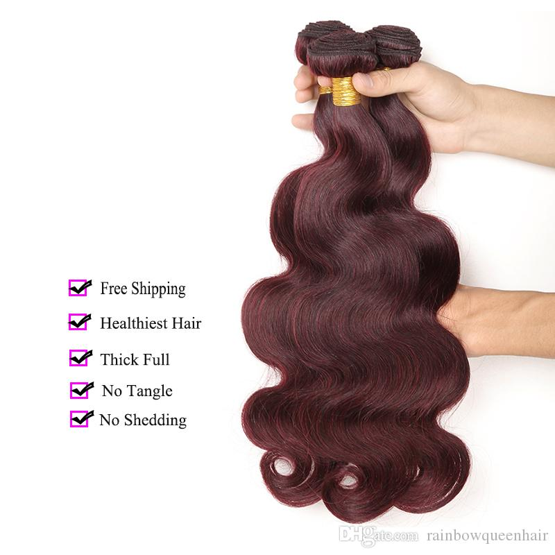 8A Burgundy Color Brazilian Virgin Hair Body Wave 3 Bundles 99J Unprocessed Brazilian Body Wave Human Hair Extensions Wine Red Wet And Wavy