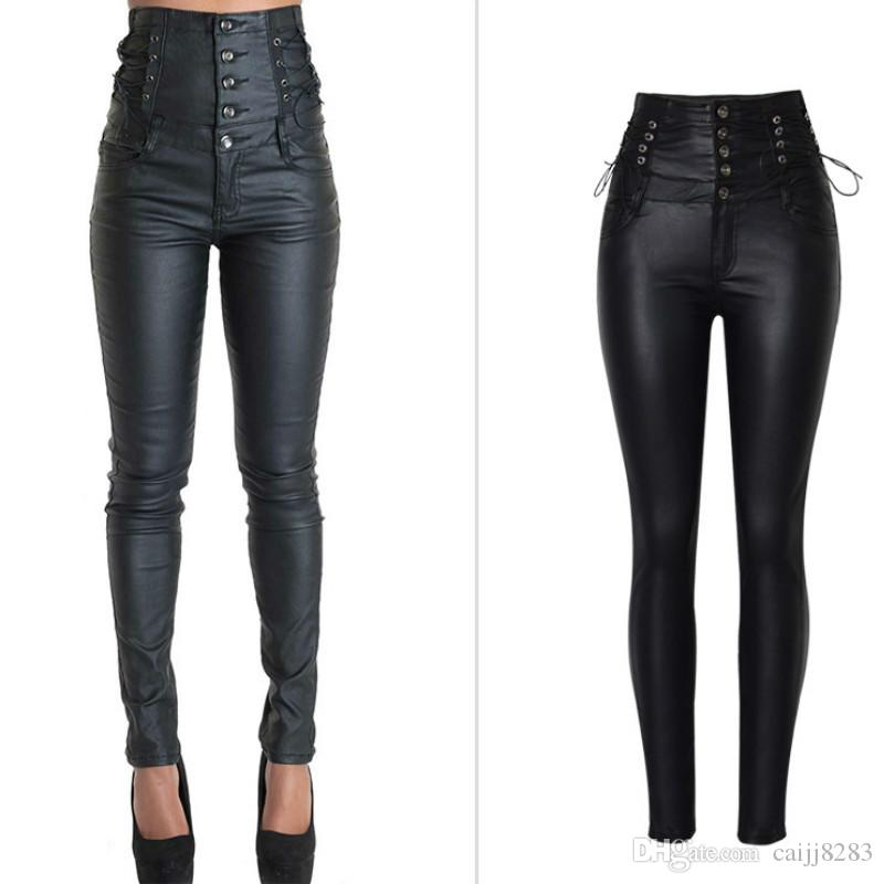c39bc71fc464e 2019 Super High Waist Coated PU Skinny Jeans Women Top Quality Fashion  England Style Lace Up Push Up Sexy Leather Trousers Mujer 2017 From  Caijj8283