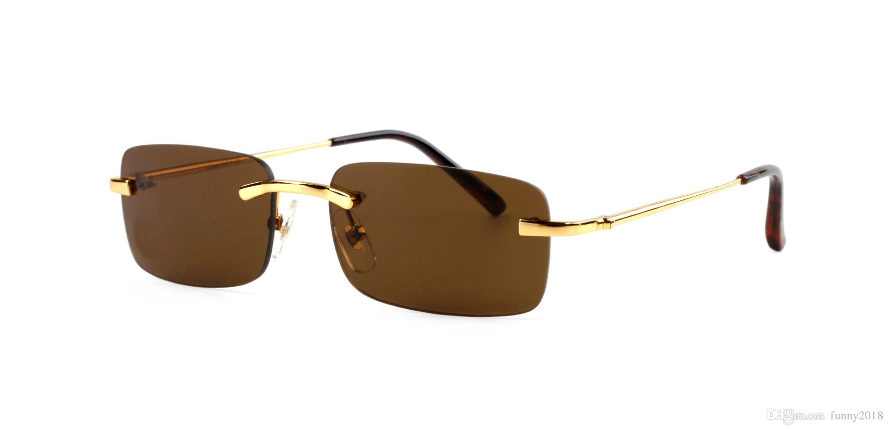 2018 Hot Unisex Mens Square Rimless Red Sunglasses Optical Fine Wire Silver Gold Frame Womens Vintage Buffalo Horn Summer Eyes glasses