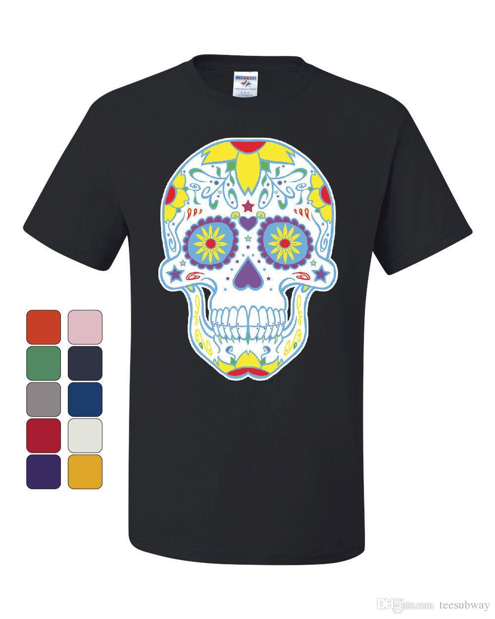 017d49dc95017 Sugar Skull Day Of The Dead T-Shirt Calavera Dia De Los Muertos Tee T-shirt  Men Man s Costume Custom Short Sleeve Boyfriend s Big Size Men s