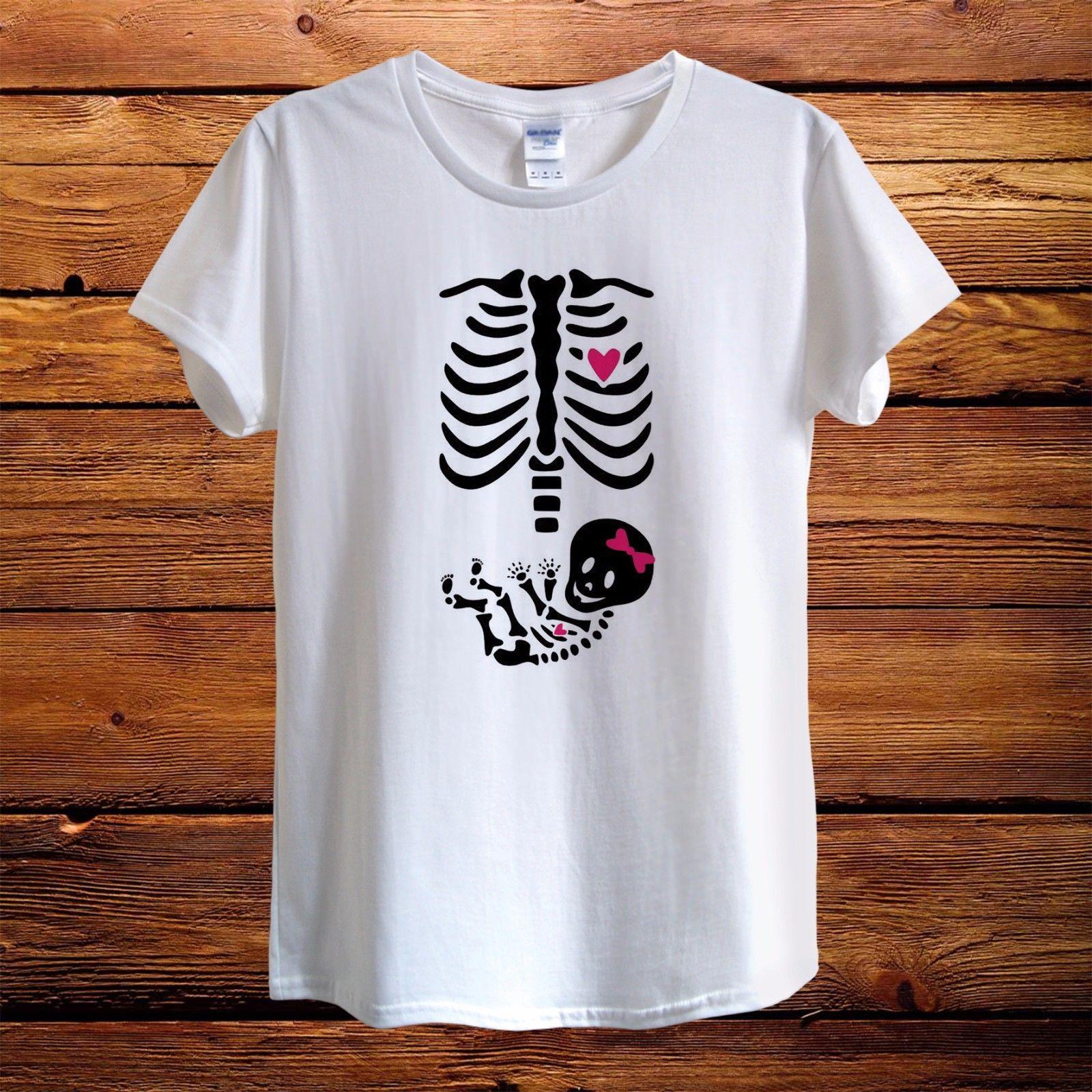 maternity pregnant baby girl boy skeleton design t shirt women