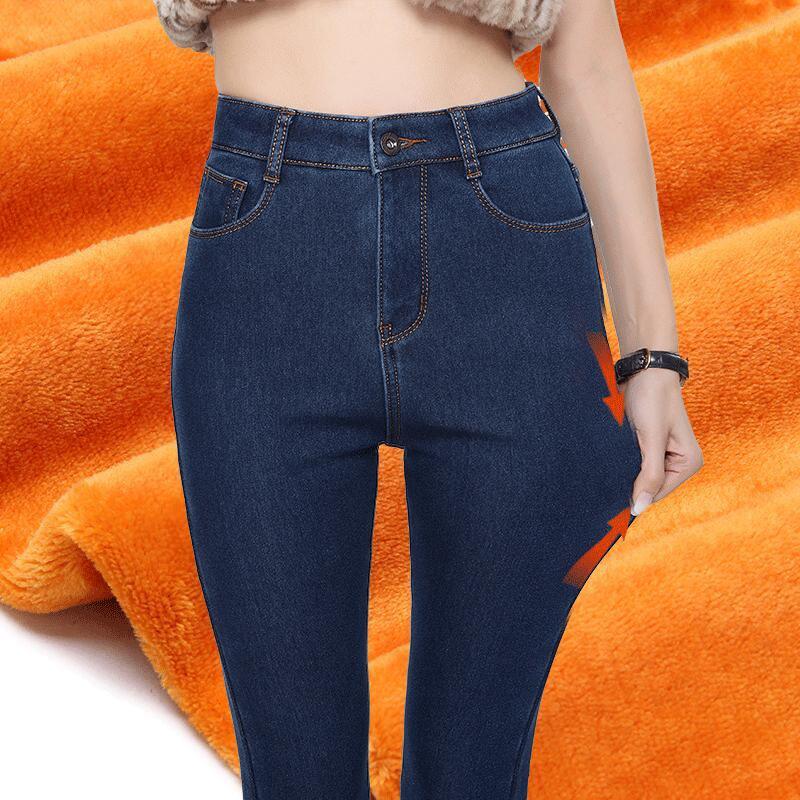 8ddf349cc1f07 New 2017 Winter New Plus Velvet Thick High Waist Stretch Skinny Warm Jeans  Women Elastic Waist Denim Pencil Pants Black Blue Denim Pencil Pants Jeans  Woman ...