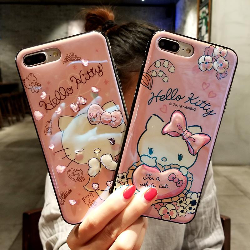 separation shoes 70e1d 54370 Cute hello kitty For iPhone X /xs 8 plus blue light case 3D love cover for  iPhone 8 6 6s plus soft case for iPhone 7 plus strap