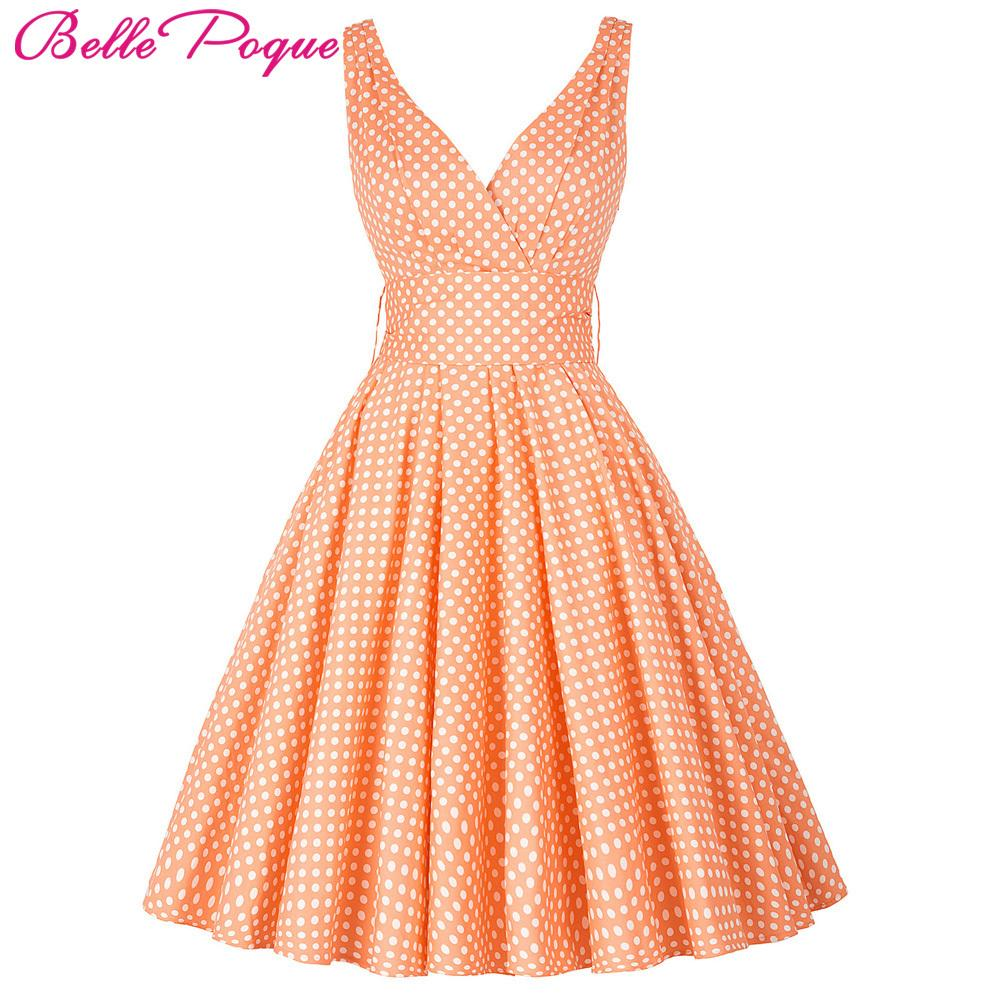 5f1aa3720d0 Belle Poque Womens Summer Dresses 2018 Women Maggie Tang 50s 60s Robe  Vintage Retro Pin Up Swing Polka Dot Tea Rockabilly Dress Y1891305 Canada  2019 From ...