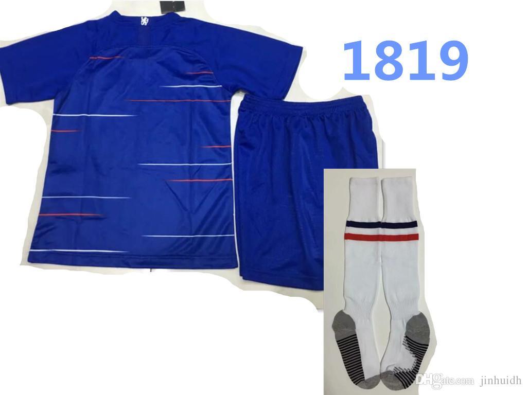ed80f6a5b new 2018 2019 Chelsea soccer jersey kids kit + socks 18 19 HAZARD HOME  KANTE DIEGO COSTA FABREGAS WILLIAN PEDRO DAVID Away football shirt