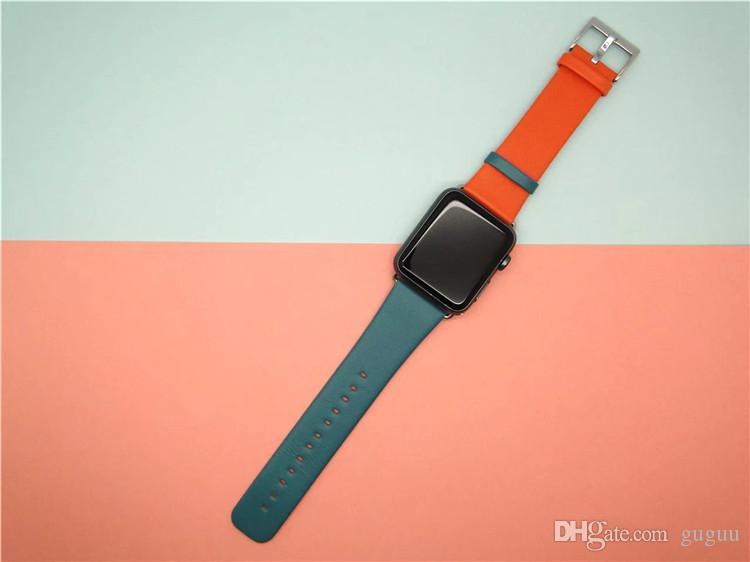 men \ umo estate new cinturino orologio cinturino orologio cinturino orologio da uomo cinturino orologio in vera pelle blu scuro patchworl beige 38mm 42mm cinturino orologio