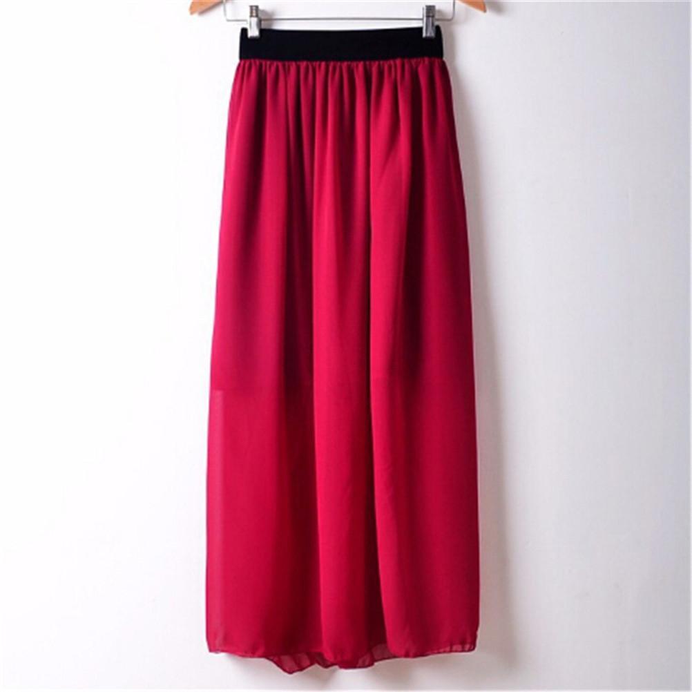 a850122519 Compre Faldas Largas Para Mujer Falda De Gasa Bohemia De Verano De La Moda  De Las Señoras Cintura Elástica Falda Larga Plisada Maxi A  42.89 Del  Charle ...