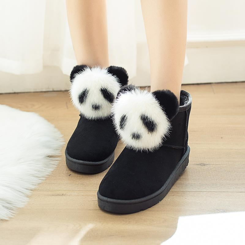 2019 Winter Women's Boots Female Rabbit Ear Lovely Boots Waterproof and Velvet with Thick Warm Cotton Shoes
