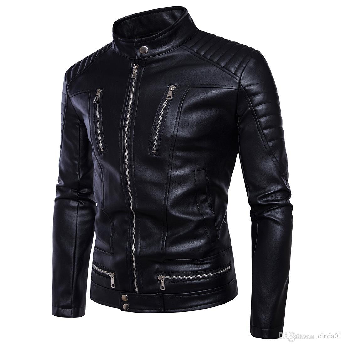 550bb7d20 Mens Faux Leather Jacket PU Leather Biker Streetwear Winter Male Punk Style  Jacket with Zippers Asian Size M-5XL