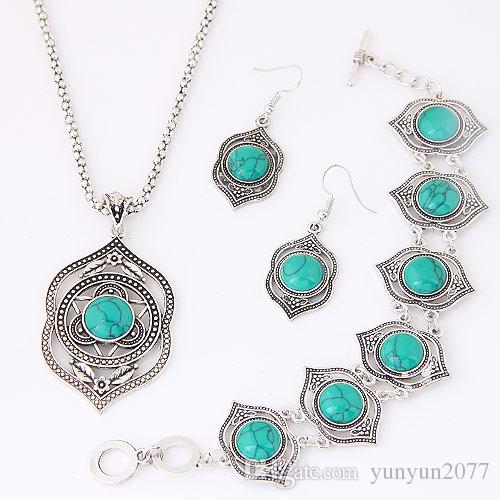 Vintage Retro Fashion Fine Accessories Jewelry Sets Turquoise Geometric Pendant Dangle Earrings Statement Chokers Necklaces Bracelets Women