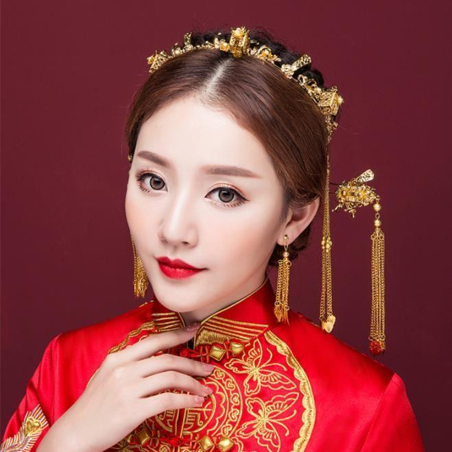 Altın yeni stil saçaklar, taç, Çin Tarzı Gelin şapkaları seti