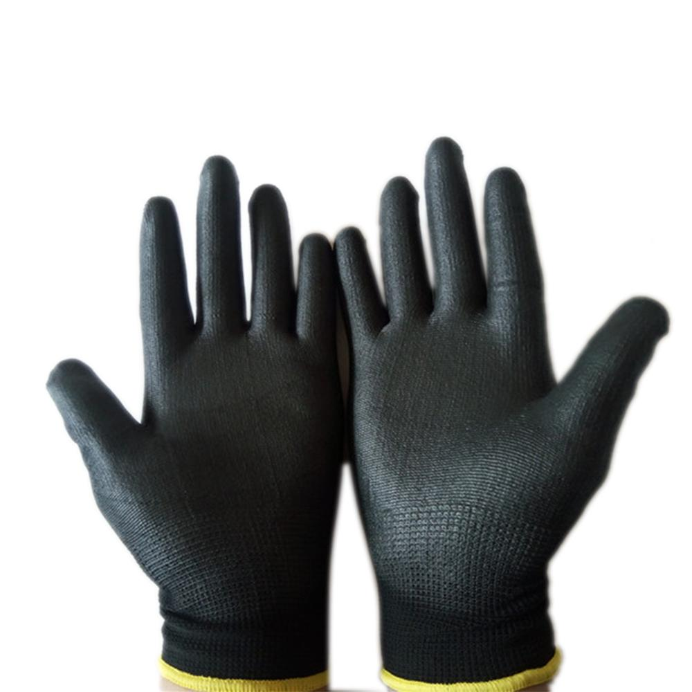 12 Pairs Black PU Nylon Builders Grip Palm Coating Gloves Safety Work Gloves Accessories Gardening Protective Non-slip