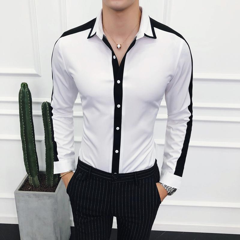 51631d41a21 Compre Sólido Camisas De Manga Larga Para Hombre Casual Slim Fit Hombre  Inglaterra Estilo Blanco Negro Contraste De Color Camisas De Oficina  Transpirables ...