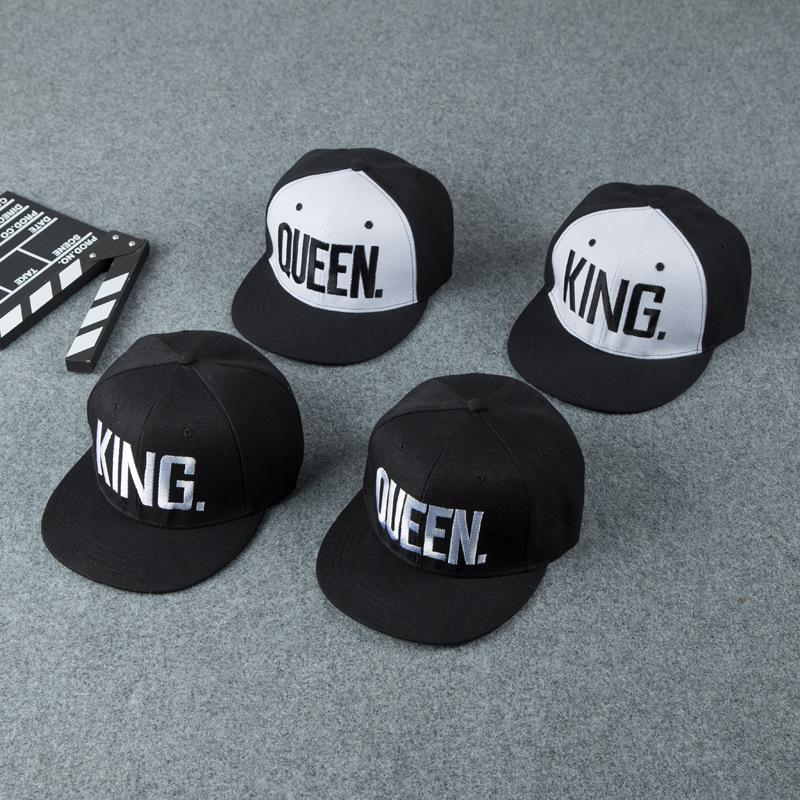 1pcs Black Embroidered Lover Cap KING and QUEEN Baseball Caps Hip Hop Caps White or Yellow Letter Snapback Hat Chapeau