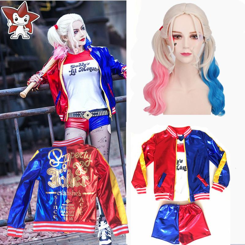 Halloween Joker And Harley Quinn Costumes.Girls Kids Harley Quinn Costume Cosplay Joker Suicide Squad Halloween Purim Jacket Sets Chamarras De Batman Y1891202