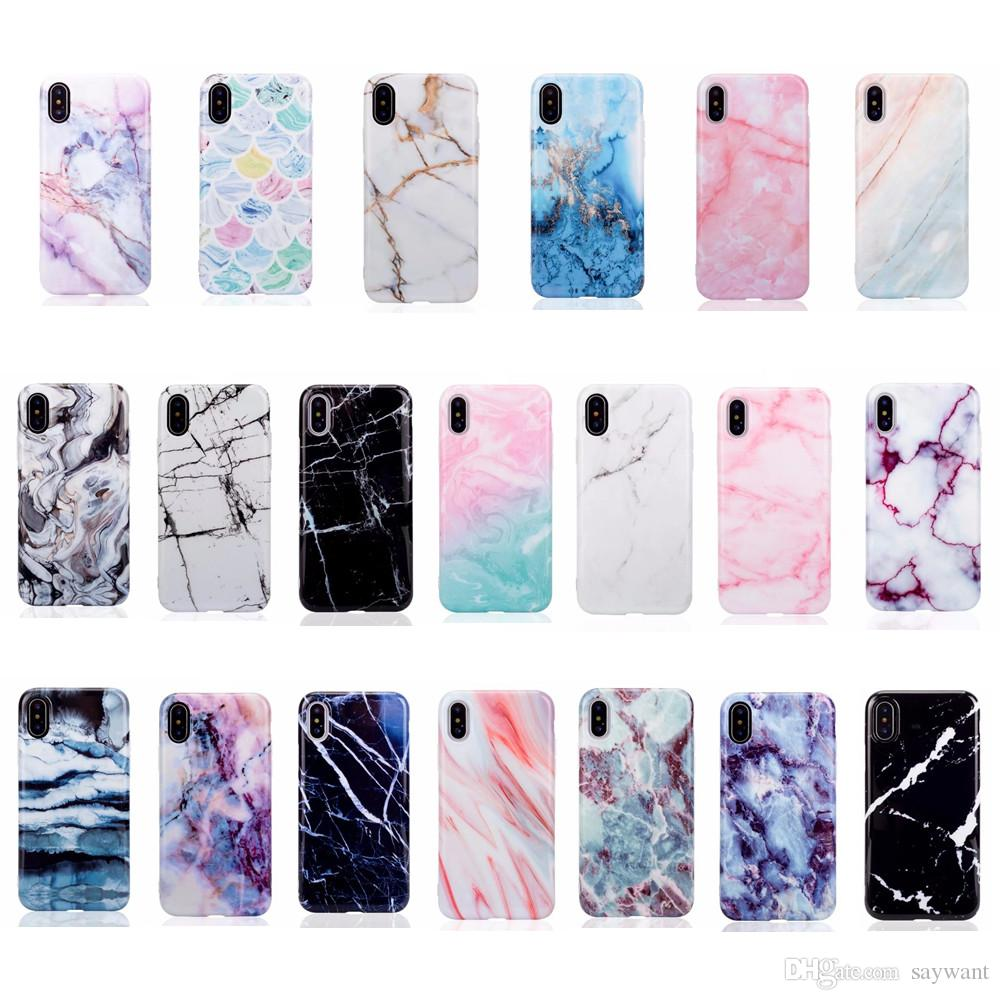 brand new 94f8e e4cc5 2018 Top Sellers Fashion Marble Stone Phone Case for iPhone X 8 7 6 Plus  Soft TPU Silicone IMD phone cases