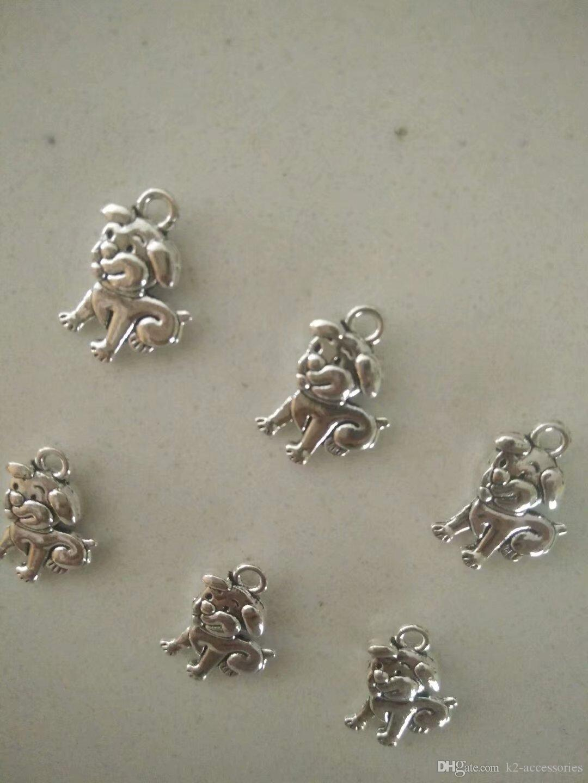Großhandel Tiere Hund Charm Tibet Silber Perlen Anhänger Für Armband