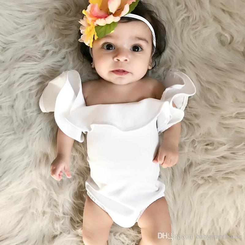 ad5e2a319ac0 2019 2018 Summer Baby Clothes Cotton Cute Rompers Infant Baby Girl Clothes  White Fly Sleeve Romper Jumpsuit Outfits 0 24M Boutique Kids Clothing From  ...