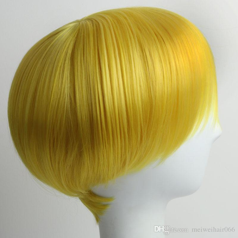 Short Yellow Wig for Black Women White Women Men Short Synthetic Wigs with Bangs Straight Wigs and Cap Wholesale Hair Wigs