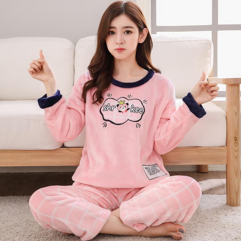 e983fba519 2019 Plus Size Thick Warm Flannel Pajamas Sets For Women 2018 Winter Coral  Velvet Pyjama Girls Cute Cartoon Pijama Sleepwear Homewear From Zijinflo
