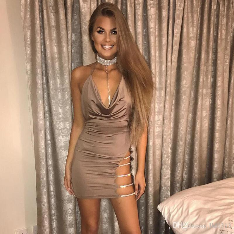 Sexy Halter Crystal Sequin Dress Backless Metallic Diamond Bandage Club Bodycon Dress Party Christmas Dresses Red