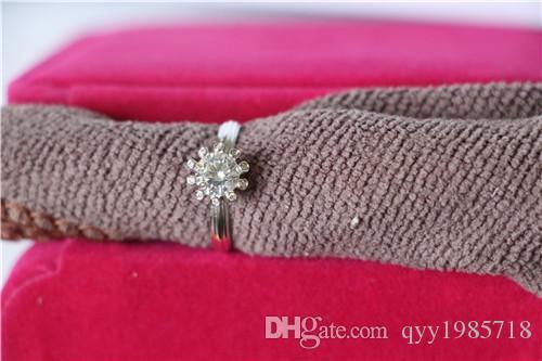 Neues Design Spezielle Zinken Einstellung 925 Sterling Silber Ring 1Ct Synthetische Diamanten Engagement Schmuck Weißgold Farbe