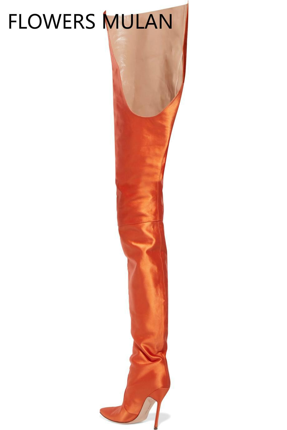 270df313b67 2018 Women Pointed Toe Over The Knee High Boots Ladies Slip On High Heel  Bright Orange Black Pink Purple Satin Waist High Boots 2017 Shoe Boots Over  Knee ...