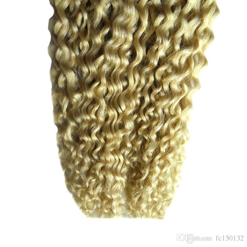 613 Bleach Blonde afro kinky cr pu hair Skin Weft Hair 100g brazilian virgin kinky curly tape in human hair extensions